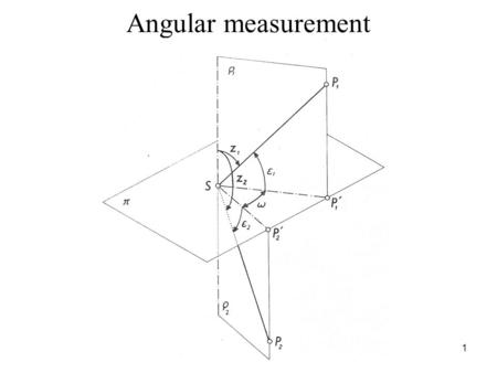 Angular measurement 1. Line of sight – the join of the points S and P Horizontal direction – the intersection between the vertical plane  i where is.