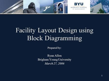 1 Facility Layout Design using Block Diagramming Prepared by: Ryan Allen Brigham Young University March 27, 2006.