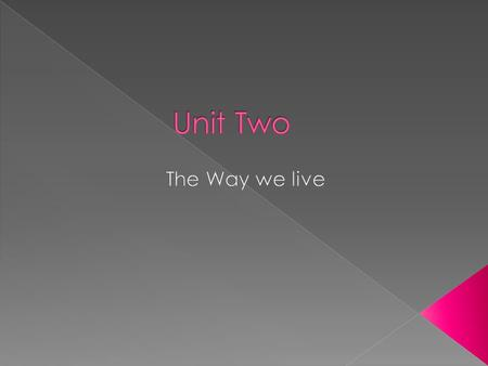 Unit Two The Way we live.