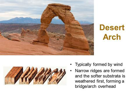Desert Arch Typically formed by wind Narrow ridges are formed and the softer substrata is weathered first, forming a bridge/arch overhead.