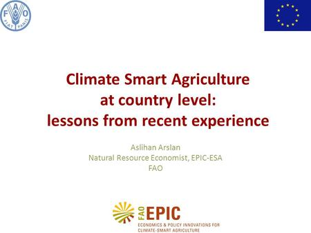 Aslihan Arslan Natural Resource Economist, EPIC-ESA FAO Climate Smart Agriculture at country level: lessons from recent experience.