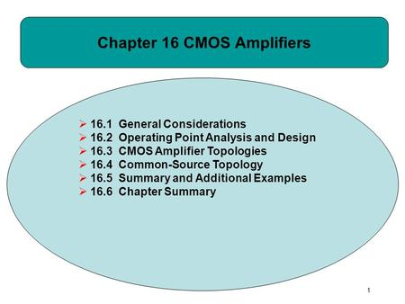 Chapter 16 CMOS Amplifiers  16.1 General Considerations  16.2 Operating Point Analysis and Design  16.3 CMOS Amplifier Topologies  16.4 Common-Source.
