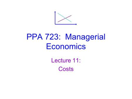 PPA 723: Managerial Economics Lecture 11: Costs. Managerial Economics, Lecture 11: Costs Outline  Short-Run Cost Curves  The Input Mix Decision  Long-Run.
