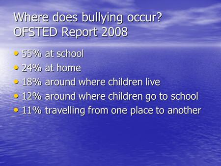 Where does bullying occur? OFSTED Report 2008 55% at school 55% at school 24% at home 24% at home 18% around where children live 18% around where children.