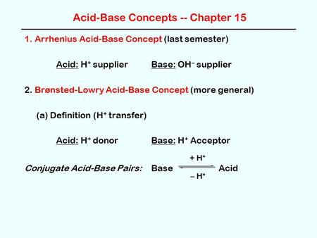 Acid-Base Concepts -- Chapter 15 1. Arrhenius Acid-Base Concept (last semester) Acid: H + supplier Base: OH – supplier 2. Brønsted-Lowry Acid-Base Concept.