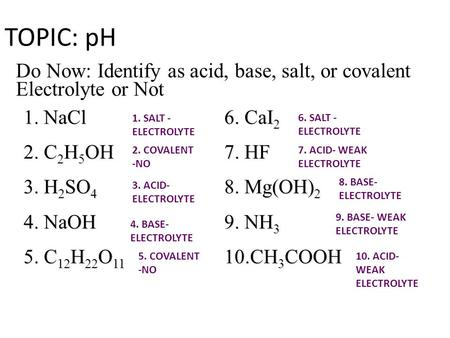 TOPIC: pH Do Now: Identify as acid, base, salt, or covalent Electrolyte or Not 1. NaCl 6. CaI2 2. C2H5OH 7. HF 3. H2SO4 8. Mg(OH)2 4. NaOH 9. NH3 5. C12H22O11.