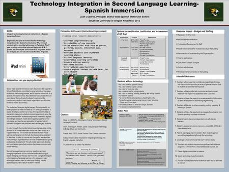 Technology Integration in Second Language Learning- Spanish Immersion Juan Cuadros, Principal, Buena Vista Spanish Immersion School EDLD 655 University.