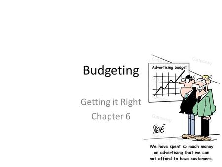 Budgeting Getting it Right Chapter 6. Decisions Objectives Budget  Control tool, planning, accountability Advertising Budget Media Selection Media Strategy.