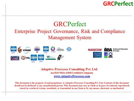 Quality Consulting Adaptive Processes Consulting Pvt. Ltd. An ISO 9001:2008 Certified Company www.AdaptiveProcesses.com This document is the property of.