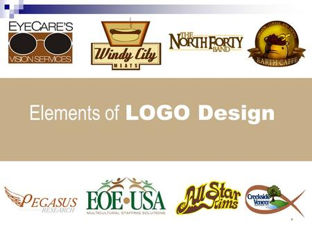 1 Elements of LOGO Design. 2 designing LOGOS LOGO definition A logo is a graphical shorthand that can represent a company or product, and communicate.