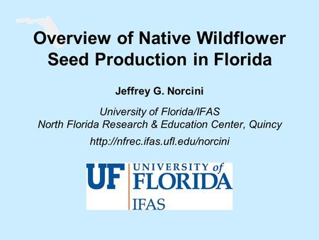 Overview of Native Wildflower Seed Production in Florida Jeffrey G. Norcini University of Florida/IFAS North Florida Research & Education Center, Quincy.
