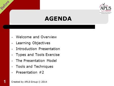 1 AGENDA Welcome and Overview Learning Objectives Introduction Presentation Types and Tools Exercise The Presentation Model Tools and Techniques Presentation.