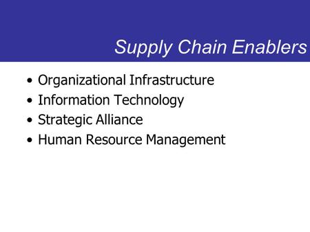 Supply Chain Enablers Organizational Infrastructure Information Technology Strategic Alliance Human Resource Management.