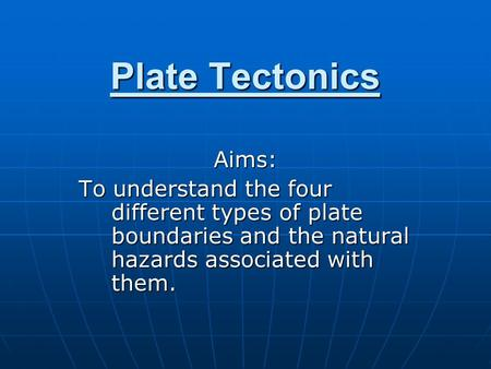Higher Plate Tectonics
