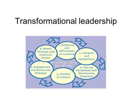Transformational leadership. 'Leaders and followers raise one another to higher levels of morality and motivation.' Burns (1978) 'Transformational leadership.