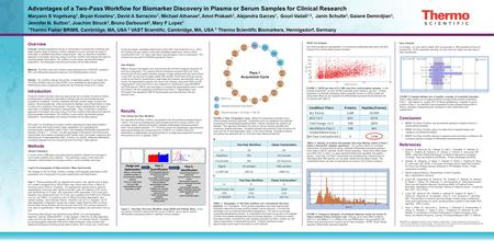 Advantages of a Two-Pass Workflow for Biomarker Discovery in Plasma or Serum Samples for Clinical Research Maryann S Vogelsang 1, Bryan Krastins 1, David.