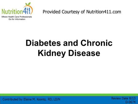 Diabetes and Chronic Kidney Disease