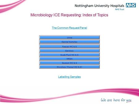 Microbiology ICE Requesting: Index of Topics