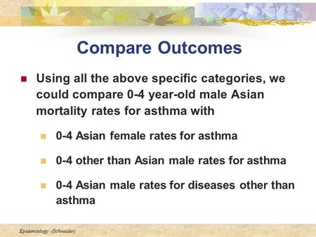 Epidemiology (Schneider) Compare Outcomes Using all the above specific categories, we could compare 0-4 year-old male Asian mortality rates for asthma.