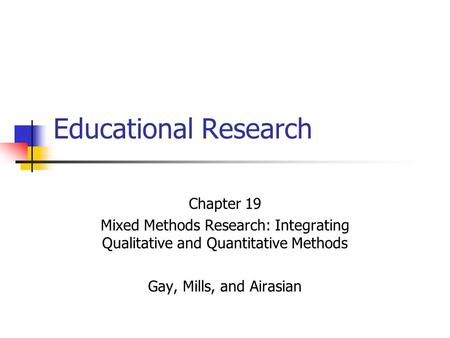 Educational Research Chapter 19