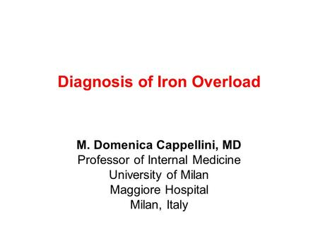 Diagnosis of Iron Overload
