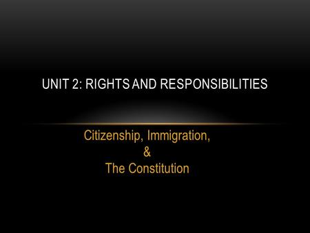 Unit 2: Rights and Responsibilities