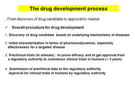 The drug development process From discovery of drug candidate to approval to market Overall procedure for drug development 1. Discovery of drug candidate.
