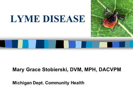 LYME DISEASE Mary Grace Stobierski, DVM, MPH, DACVPM Michigan Dept. Community Health.