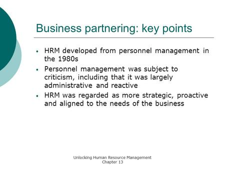 Business partnering: key points