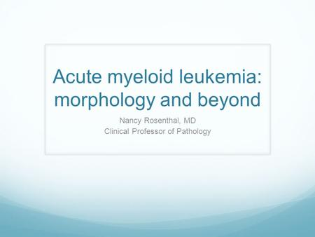 Acute myeloid leukemia: morphology and beyond