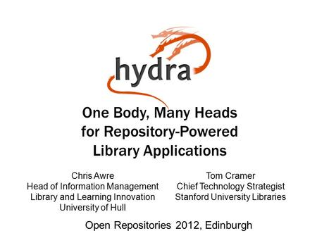 One Body, Many Heads for Repository-Powered Library Applications Chris Awre Head of Information Management Library and Learning Innovation University of.