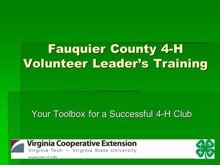 Fauquier County 4-H Volunteer Leader's Training