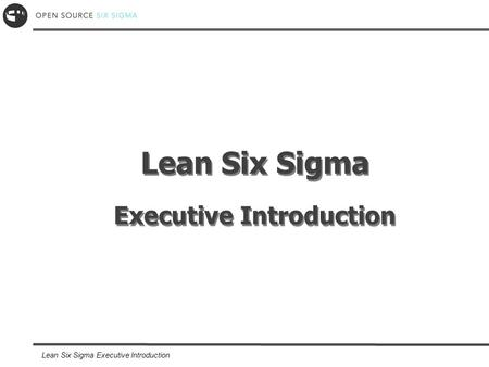 Lean Six Sigma Executive Introduction. Copyright OpenSourceSixSigma.com Competition Every morning in Africa, a gazelle wakes up; it knows it must run.