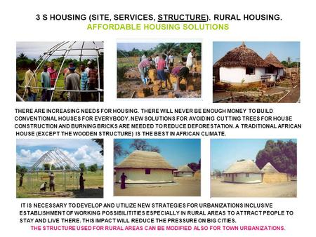 3 S HOUSING (SITE, SERVICES, STRUCTURE). RURAL HOUSING. AFFORDABLE HOUSING SOLUTIONS IT IS NECESSARY TO DEVELOP AND UTILIZE NEW STRATEGIES FOR URBANIZATIONS.