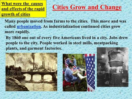 What were the  causes and effects of the rapid growth of cities