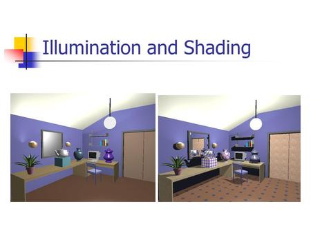 Illumination and Shading. Illumination (Lighting) Model the interaction of light with surface points to determine their final color and brightness OpenGL.