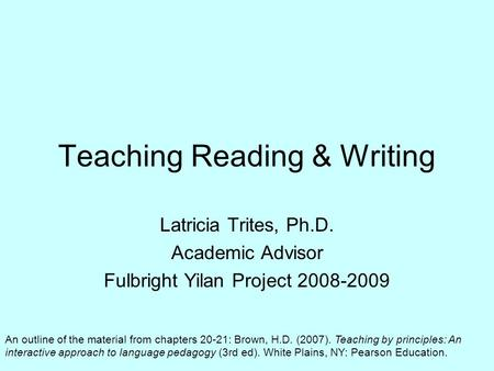 Teaching Reading & Writing