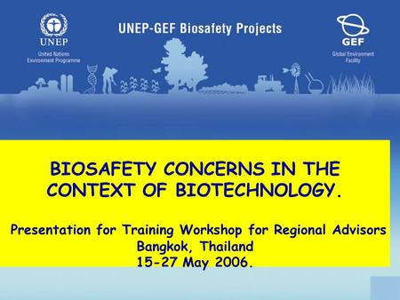 BIOSAFETY CONCERNS IN THE CONTEXT OF BIOTECHNOLOGY. Presentation for Training Workshop for Regional Advisors Bangkok, Thailand 15-27 May 2006.