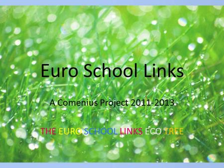 Euro School Links A Comenius Project 2011-2013 THE EURO SCHOOL LINKS ECO TREE.