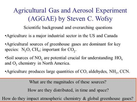 Agricultural Gas and Aerosol Experiment (AGGAE) by Steven C. Wofsy Scientific background and overarching questions Agriculture is a major industrial sector.