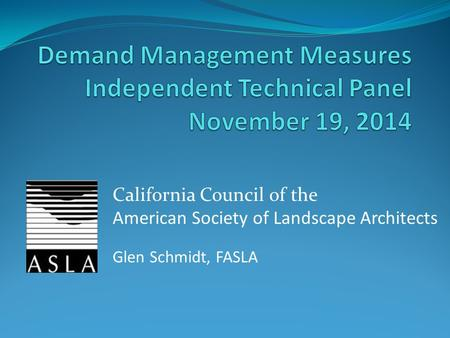 Goal provide information on the model water efficient for American institute of landscape architects