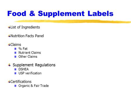 Food & Supplement Labels