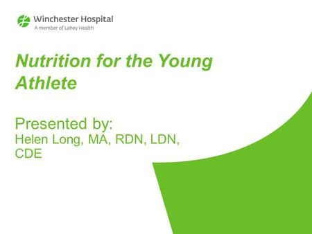 Nutrition for the Young Athlete