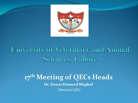 17 th Meeting of QECs Heads Dr. Dawar Hameed Mughal Director QEC.