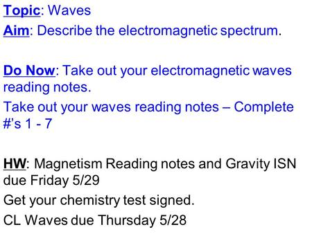 Topic: Waves Aim: Describe the electromagnetic spectrum