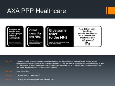 AXA PPP Healthcare The Story:This was a highly targeted integrated campaign that told the story of how our National Health Service actually benefits from.