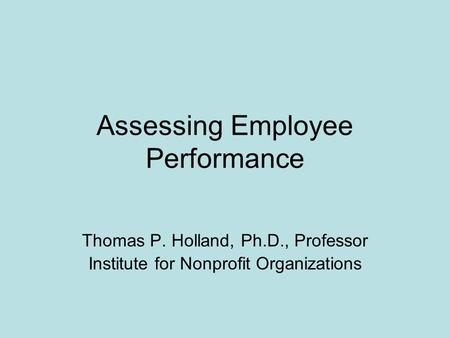 Assessing Employee Performance