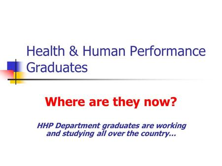 Health & Human Performance Graduates Where are they now? HHP Department graduates are working and studying all over the country…