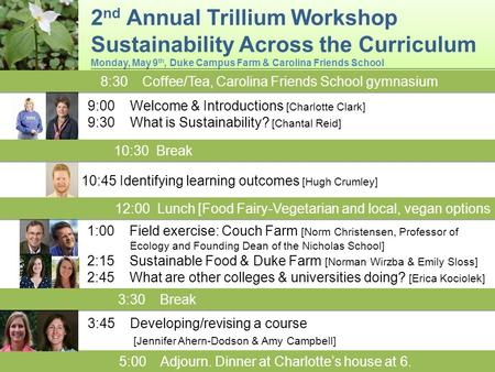 2 nd Annual Trillium Workshop Sustainability Across the Curriculum Monday, May 9 th, Duke Campus Farm & Carolina Friends School 2 nd Annual Trillium Workshop.