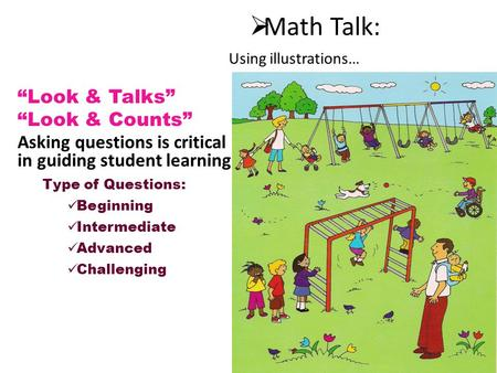 " Math Talk: ""Look & Talks"" ""Look & Counts"" Asking questions is critical in guiding student learning. Type of Questions: Beginning Intermediate Advanced."